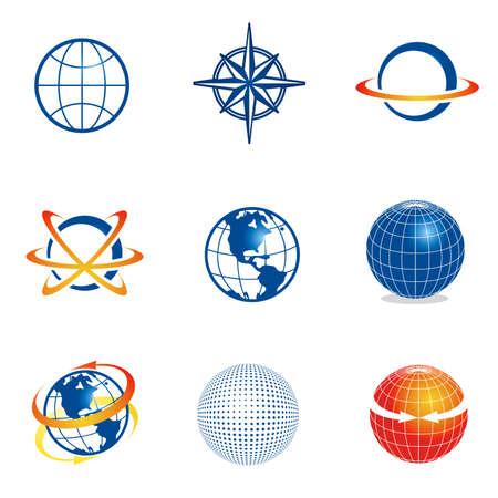 red sphere: Insieme di vector logo aziendale modelli. Basta posizionare il vostro nome proprio marchio.