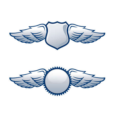 shield logo: Shields with wings in two different shapes
