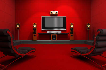A contemporary home theater room. Furnished with modern furniture and electronics. Digitally created and high resolution rendered. Stock Photo