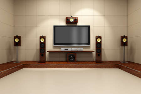 home cinema: A contemporary home theater room without furniture. Digitally created and high resolution rendered. Stock Photo