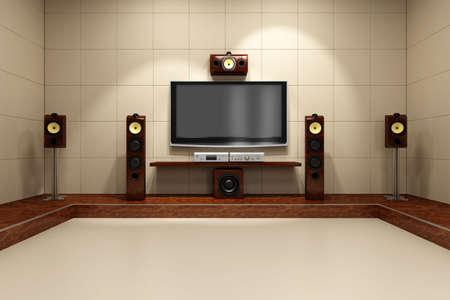 home theater: Una camera contemporanea home theater senza mobili. Digitale creato e reso ad alta risoluzione.