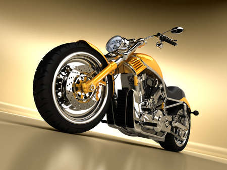A beautiful studio shot of a yellow Harley Davidson Stock Photo - 4990294