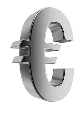 Metallic euro sign. High resolution rendered in 3D. Stock Photo