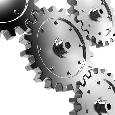 clockwork: 4 gears connected together. High resolution rendered. Stock Photo