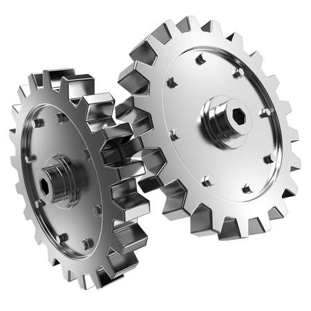 2 gears connected together. High resolution rendered. Stock Photo