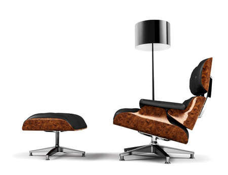 leather chair: A designer chair and a lamp. Elegant and minimal interior design concept. 3D rendered in high resolution. Stock Photo