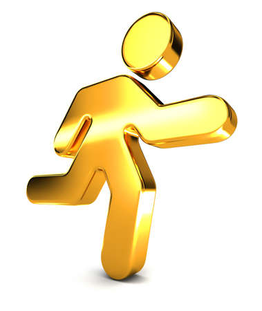 A shiny golden running man icon illustrating a businness concept. Stock Photo
