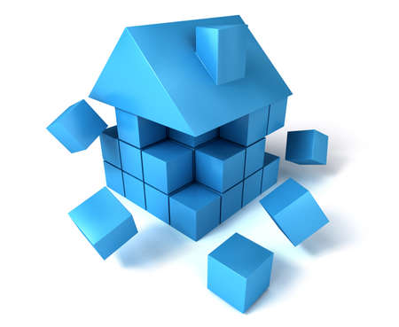 apart: A house build of blocks and cubes, falling apart.