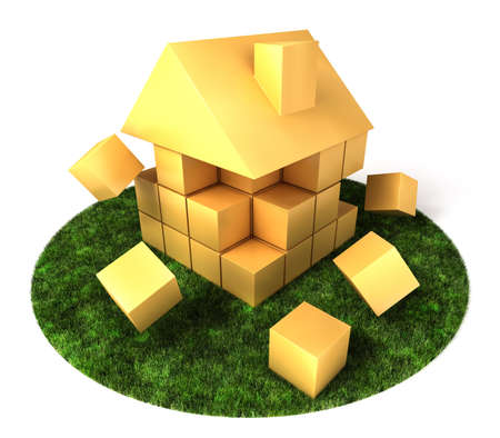 A house build of blocks and cubes, falling apart. photo