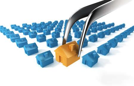 A tweezers selects a unique residential building. Stock fotó