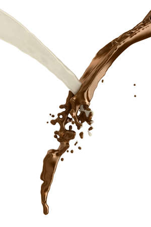 Chocolate and milk splash and mix together on white background. photo