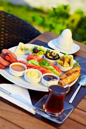 Healthy Turkish style breakfast in the morning. Stock Photo