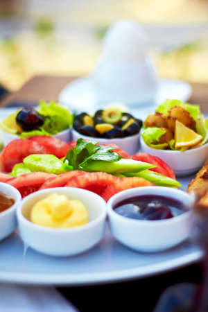 turkish bread: Healthy Turkish breakfast in the bright morning.