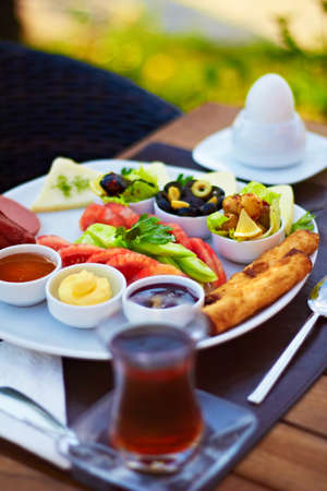 Healthy Turkish breakfast in the bright morning. photo