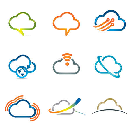 Set of cloud icons related with cloud computing and networking