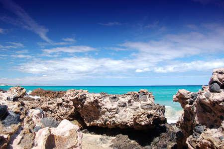 Rocks on Fuerteventura Jandia Beach 版權商用圖片