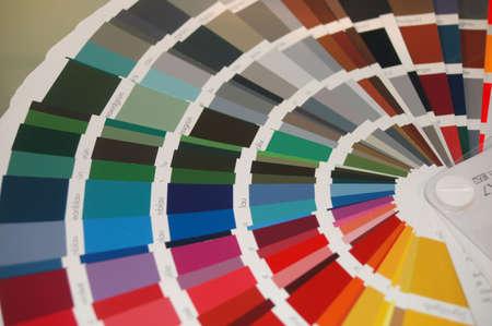 complicación: carta de color con diversos patrones del color Foto de archivo