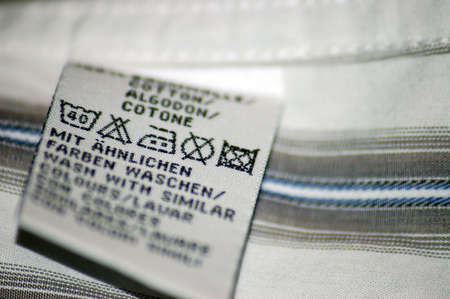 Wash icons on shirt label