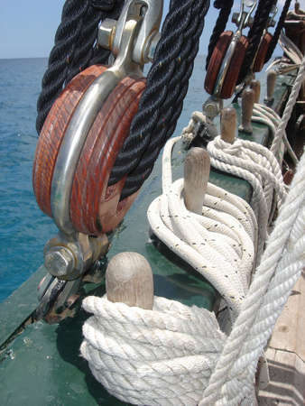 closeup of ropes on a old sailing boat Stock Photo - 765025