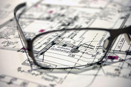 construction plan with eyeglasses 版權商用圖片 - 765028