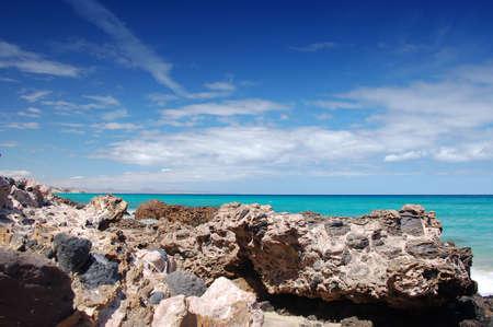 jandia beach with large rocks in fuerteventura, spain