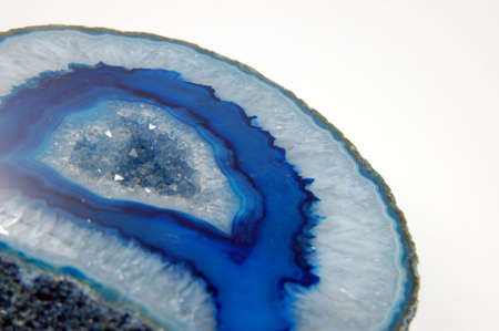 Closeup of blue agate isolated on white background