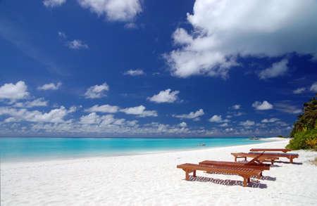 Liegestühle am tropischen Strand Standard-Bild - 1311146