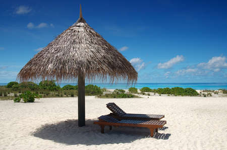 sunshade with deckchair on a tropical beach with blue sky and white sand