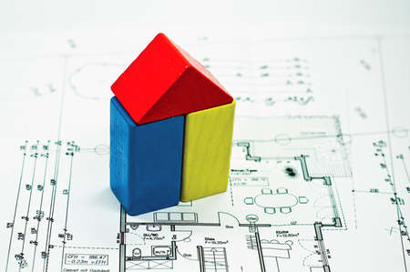 construction plan with house of building blocks