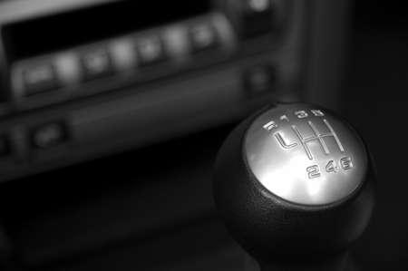 sportscar: german sportscar interior with six speed gear stick in focus