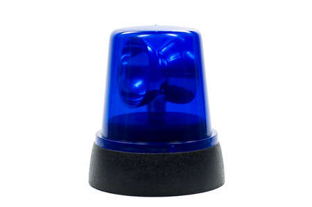 blue police light isolated on white background photo