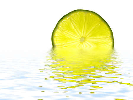 fresh lime slice in water on white background