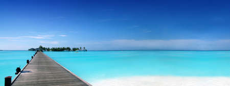 Footbridge to a tropical island 版權商用圖片 - 9547049