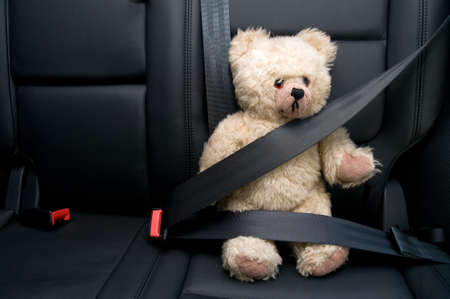 car seat: Teddy Bear buckled with safety belt in a car
