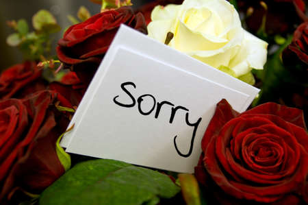 apology: bouquet of roses with sorry card
