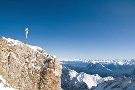 zugspitze mountain: Summit of the Zugspitze Mountain in Germany Stock Photo