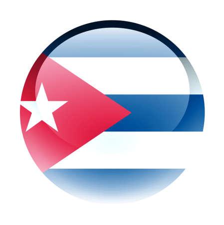 flag cuba: Aqua Country Button Cuba