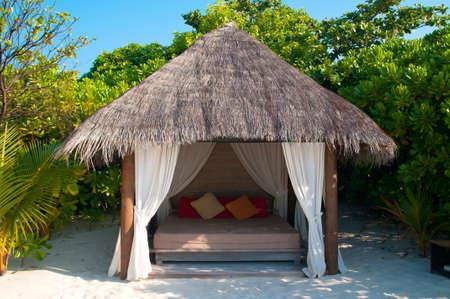 cabana: Beach Cabana on a maldivian island Stock Photo