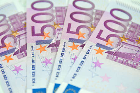 euromoney: 500 Euro banknotes Stock Photo