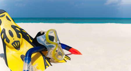snorkeling set on the beach