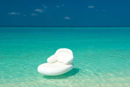 air mattress in the ocean