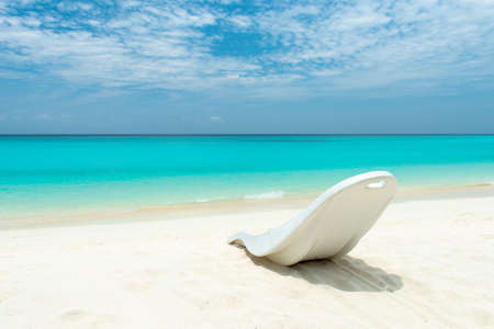 Maldivian Beach Paradise. Sunbed at the beach