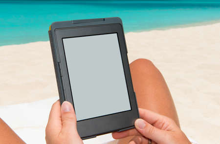 e-book reader at the beach
