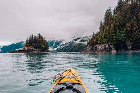 Adventure Kayak Tour in Tracy Arm Alaska at Dawes Glacier, Seward 스톡 콘텐츠