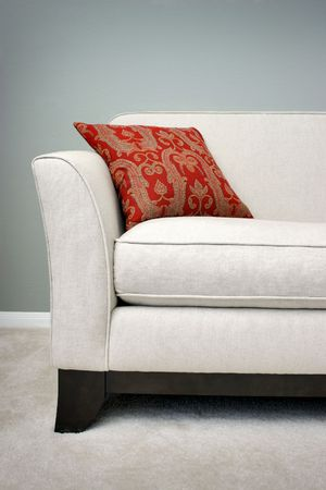 red sofa: Red Pillow on a Sofa