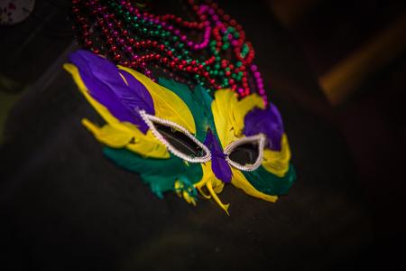 Yellow Mardi Gras Mask Reklamní fotografie