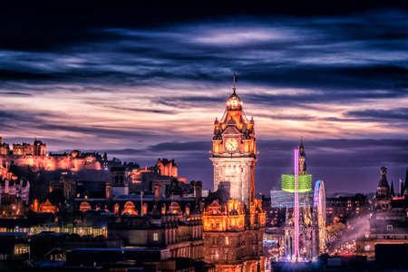 cityscape of Edinburgh, Scotland, at night, viewed from Calton Hill Stock Photo