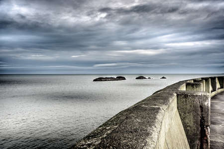 lothian: The sea embankment and Seascape from Dunbar on the North Sea coast of Scotland UK Stock Photo