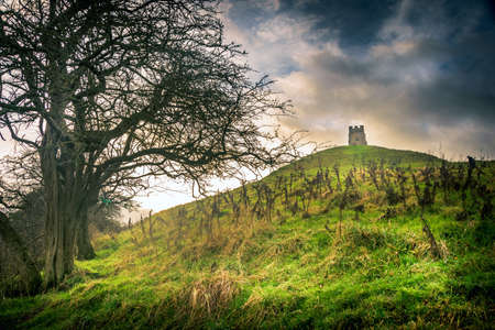 The historic Glastonbury Tor in Somerset, England.