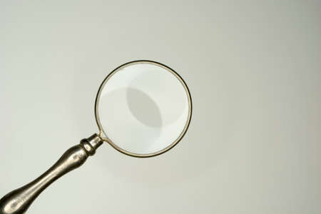 handglass: magnifying glass isolated on white background, equipment lens or magnifier loupe Stock Photo